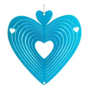 Blue heart wind spinner 15cm
