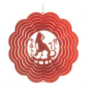 Red cat wind spinner 15cm