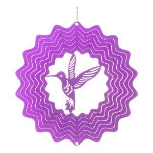 Purple hummingbird wind spinner 15cm